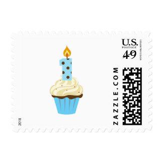 Magdalena azul del primer cumpleaños con un sello