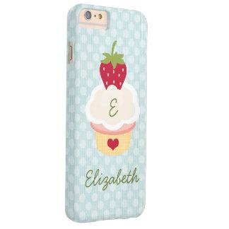 Magdalena con monograma azul de la fresa funda para iPhone 6 plus barely there
