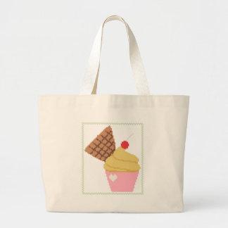 magdalena con una cereza en el top bolsa tela grande