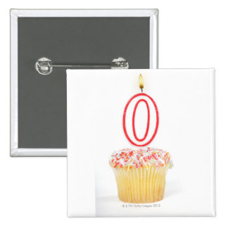 Magdalena con una vela numerada del cumpleaños pin cuadrada 5 cm
