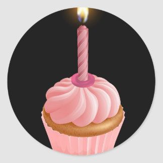 Magdalena de hadas rosada de la torta con la vela pegatina redonda