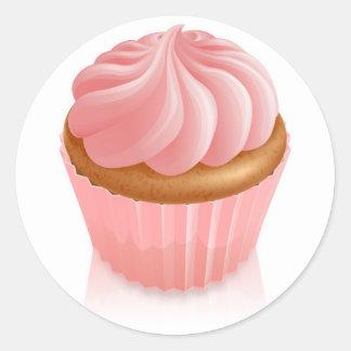 Magdalena de hadas rosada de la torta pegatina redonda