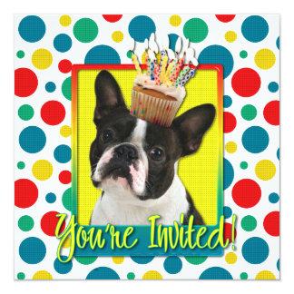 Magdalena de la invitación - Boston Terrier Invitación 13,3 Cm X 13,3cm