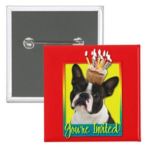 Magdalena de la invitación - Boston Terrier Pin Cuadrada 5 Cm