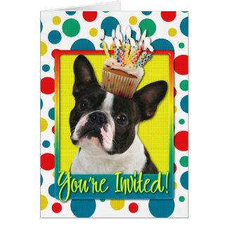 Magdalena de la invitación - Boston Terrier Felicitacion