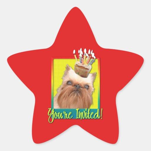 Magdalena de la invitación - Bruselas Griffon Pegatinas Forma De Estrellaes
