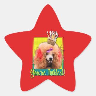 Magdalena de la invitación - caniche - rojo pegatina en forma de estrella