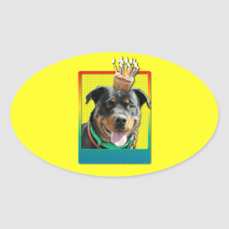 Magdalena de la invitación - Rottweiler - Pegatina Ovalada