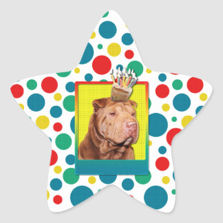 Magdalena de la invitación - Shar Pei - afortunada Pegatina En Forma De Estrella