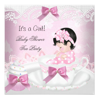 Magdalena de la taza de té del bebé del rosa del invitaciones personalizada