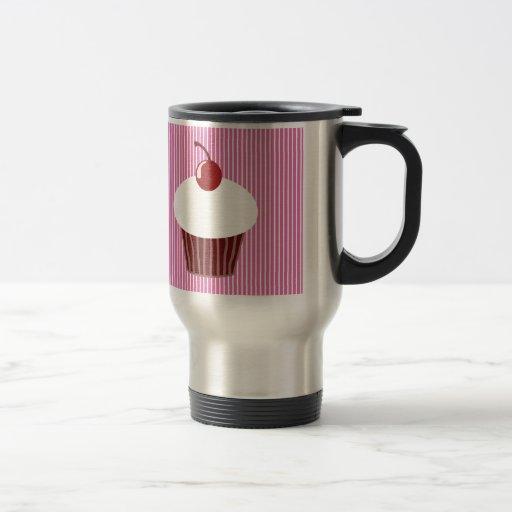 Magdalena de la vainilla y rayas rosadas tazas de café