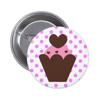 Magdalena de lujo del corazón del chocolate del pin redondo 5 cm