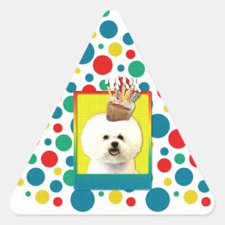 Magdalena del cumpleaños - Bichon Frise Pegatina Triangular