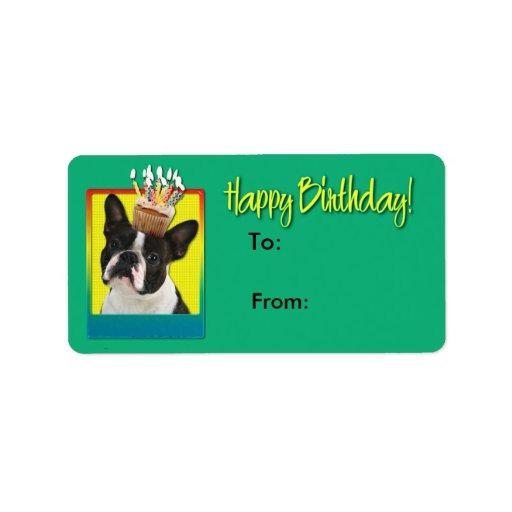 Magdalena del cumpleaños - Boston Terrier Etiqueta De Dirección