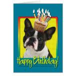 Magdalena del cumpleaños - Boston Terrier Tarjeta De Felicitación