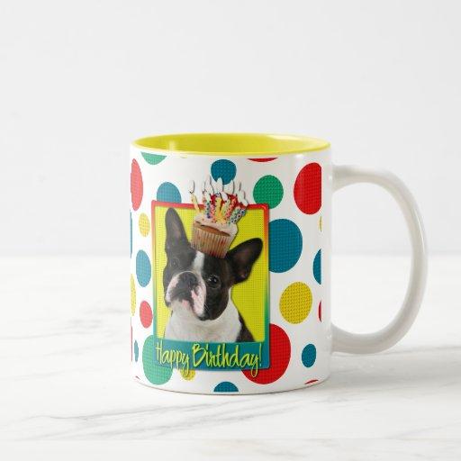 Magdalena del cumpleaños - Boston Terrier Taza Dos Tonos