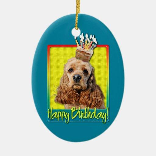 Magdalena del cumpleaños - cocker spaniel adorno navideño ovalado de cerámica