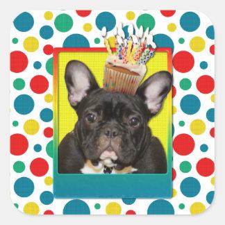 Magdalena del cumpleaños - dogo francés - trullo pegatina cuadrada