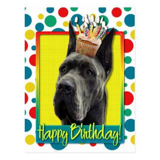 Magdalena del cumpleaños - great dane - gris postal