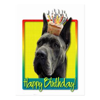 Magdalena del cumpleaños - great dane - gris postales