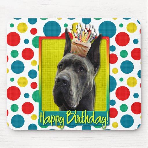 Magdalena del cumpleaños - great dane - gris alfombrilla de ratones