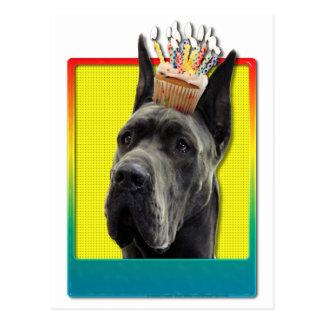 Magdalena del cumpleaños - great dane - gris tarjeta postal