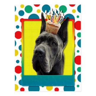 Magdalena del cumpleaños - great dane - gris tarjetas postales