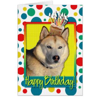 Magdalena del cumpleaños - husky siberiano - cobre tarjeta de felicitación