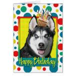 Magdalena del cumpleaños - husky siberiano tarjeton
