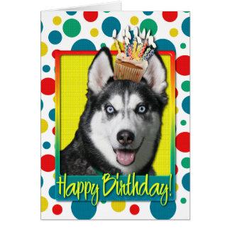 Magdalena del cumpleaños - husky siberiano tarjeta de felicitación