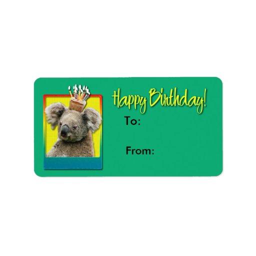 Magdalena del cumpleaños - koala etiquetas de dirección