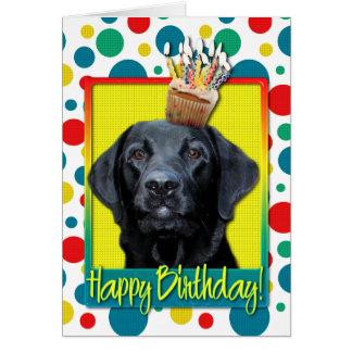 Magdalena del cumpleaños - Labrador - negro - Tarjeta De Felicitación