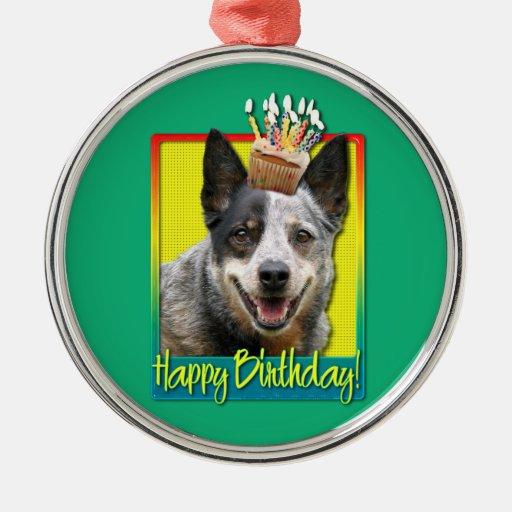 Magdalena del cumpleaños - perro australiano del adorno redondo plateado