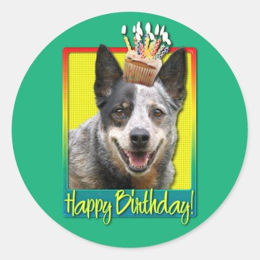 Magdalena del cumpleaños - perro australiano del pegatinas redondas