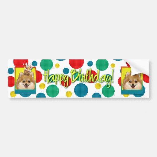Magdalena del cumpleaños - Pomeranian Etiqueta De Parachoque