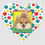 Magdalena del cumpleaños - Pomeranian Calcomanía De Corazón Personalizadas