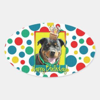 Magdalena del cumpleaños - Rottweiler - SambaParTi Pegatina Ovalada