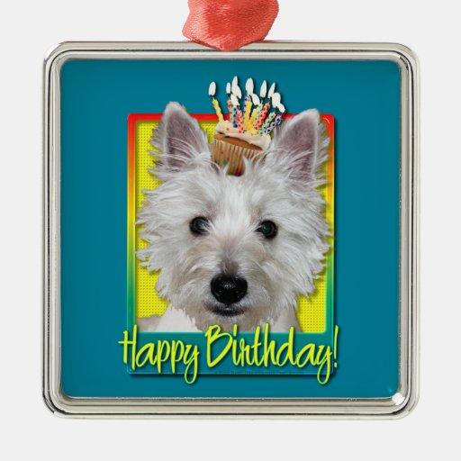 Magdalena del cumpleaños - Westie - el tanque Adorno Cuadrado Plateado