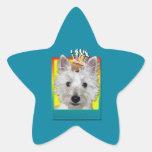 Magdalena del cumpleaños - Westie - el tanque Pegatina En Forma De Estrella