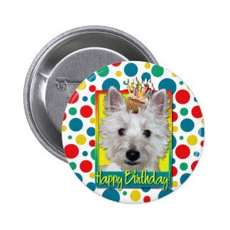 Magdalena del cumpleaños - Westie - el tanque Pin Redondo De 2 Pulgadas