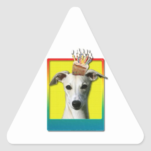 Magdalena del cumpleaños - Whippet Pegatina Triangular