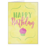 Magdalena del feliz cumpleaños de la acuarela tarjeta de felicitación