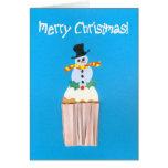 Magdalena del navidad con el muñeco de nieve tarjetas