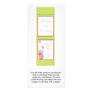 Magdalena del pastel del rosa de la fiesta del té diseño de tarjeta publicitaria