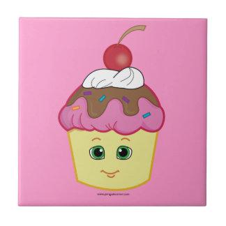 ¡Magdalena dulce con una cereza en el top! Teja Cerámica