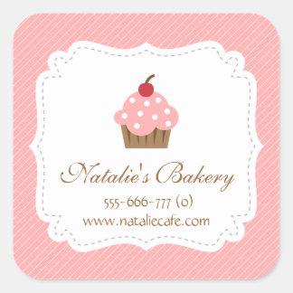Magdalena elegante, moderna, rosada, panadería calcomanía cuadradase