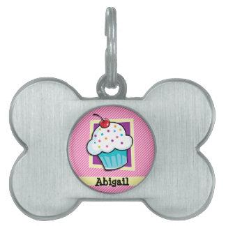 Magdalena en rayas rosadas y blancas placa de nombre de mascota