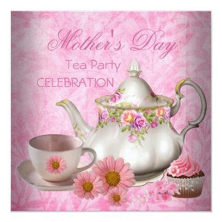 Magdalena floral rosada blanca del té del día de invitación 13,3 cm x 13,3cm