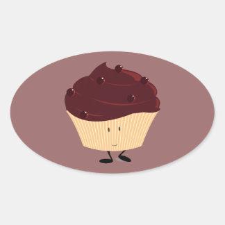 Magdalena helada chocolate sonriente pegatina ovalada