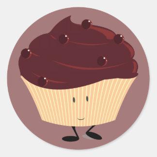 Magdalena helada chocolate sonriente pegatina redonda